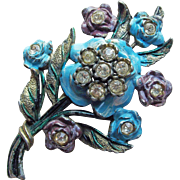 Signed Little Nemo Rhinestone Enamel Painted Flowers Vintage Brooch