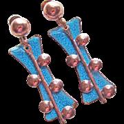 Gorgeous Copper & Blue Enamel Vintage Dangle Earrings - Screw Backs
