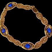 Gorgeous 12K Gold Filled Blue Stones Estate Bracelet