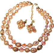 Fabulous VENDOME Signed Pink Crystal Beads Necklace SET