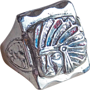 Vintage Indian Chief Mexican Biker Motorcycle Ring - Size 10 3/4 Silvertone Metal Heavy