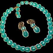 Gorgeous AQUA Moonglow Lucite Necklace Set