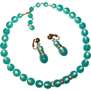 Gorgeous AQUA Moonglow Lucite Necklace Set