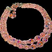 Fabulous PINK AURORA CRYSTAL 2 Strand Vintage Estate Necklace