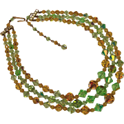 Gorgeous GREEN & AMBER Aurora Crystal 3 Strand Necklace