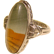 Fabulous STERLING Picture Stone Vintage Estate Ring