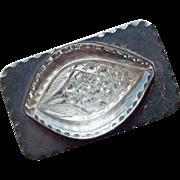 Gorgeous Sterling & Cut Glass Vintage Belt Buckle Custom Made