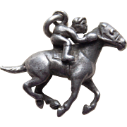 Sterling Horse & Jockey Vintage Estate Charm