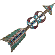 Fabulous Victorian Enamel Arrow Antique Brooch