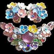 Fabulous KRAMER Rhinestone & Enamel Flower Brooch Set - Vintage Signed
