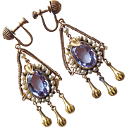 Fabulous Art Deco Alexandrite Glass Flapper Earrings