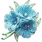 Awesome Flower Power Enamel & Plastic Vintage Brooch - 1960s Dimensional