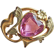 """Tiny Art Nouveau Pink Glass Heart Mini Sash Pin Antique Brooch - 15/16"""" For Doll or Lapel"""