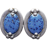 Gorgeous Sterling & Blue Stone Vintage Clip Earrings