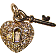 Sterling KEY to MY HEART Clear Stones Vintage Charm
