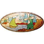 Gorgeous Deco Era ENAMELED Scenic Design Brooch