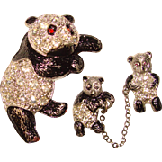 Awesome 1940's PANDA Mother & Babies Figural Rhinestone Set