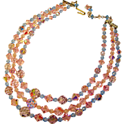 Fabulous PINK LAVENDER & BLUE Aurora Crystal 3 Strand Vintage Estate Necklace