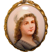 Gorgeous Victorian Lady Antique Porcelain Brooch