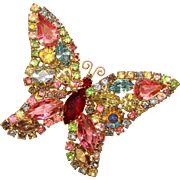 Fabulous WEISS Signed Butterfly Colored Rhinestone Vintage Brooch