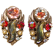 Signed Florenza S Shape Glass Stone Rhinestone Vintage Earrings