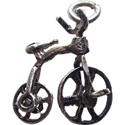 Sterling Penny-Farthing Bicycle Mechanical Vintage Estate Charm - Movable Bike