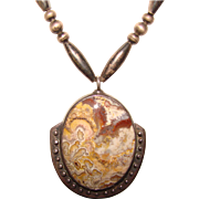 Fabulous LACE AGATE Sterling Silver Vintage Necklace