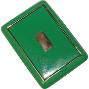 Gorgeous ART DECO Green Enamel Compact - Signed in Original Box