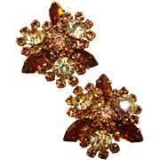 Fabulous TOPAZ BROWN Aurora Rhinestone Vintage Clip Earrings