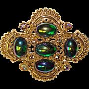 Fabulous CORO Signed Peacock Carnival Glass Rhinestone Brooch