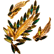 Fabulous PERIDOT & EMERALD Green Skinny Navette Rhinestone Brooch Set