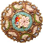 Gorgeous Vintage Micro Mosaic Glass Tiles Brooch