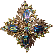 Fabulous FLORENZA Peacock Melon Stones Rhinestone Signed Vintage Brooch