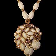 Fabulous TRIFARI Milk Glass Shaped Stones Vintage Dangle Necklace