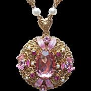 Fabulous Pink Rhinestone West Germany Vintage Necklace