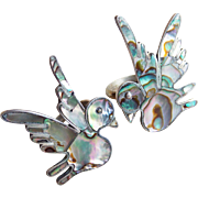 Gorgeous Bird Taxco Sterling & Abalone Vintage Ring Set - Size 5 3/4 - Converted from Mexican Silver Earrings