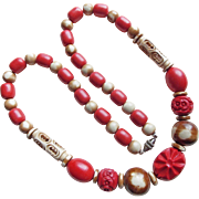 Fabulous Art Deco Red Celluloid Carved Bead Necklace