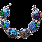 Fabulous BUTTERFLY WING Reverse Painted Tropical Scenes Vintage Bracelet