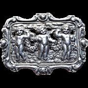 Fabulous 800 Silver Cherubs with Garlands Vintage Brooch