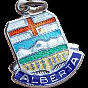 Vintage Alberta Sterling & Enamel Estate Charm - Travel Souvenir of Canada - Canadian