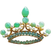 SWOBODA Signed Crown Vintage Brooch - Green Stones & Cultured Freshwater Pearls