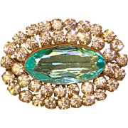Fabulous Antique AQUA Glass Clear Stones Brooch