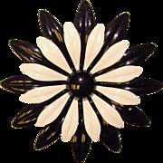 Huge 1960's BLACK & WHITE Enamel Flower Power Brooch