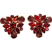Fabulous RED & PURPLE Vintage Rhinestone Clip Earrings