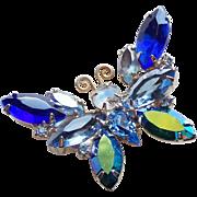 Gorgeous Butterfly Blue Rhinestone Vintage Brooch