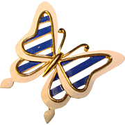 Signed TRIFARI Enamel BUTTERFLY Design Vintage Brooch