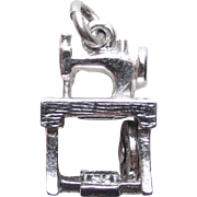 Signed DANECRAFT STERLING Treadle Sewing Machine Mechanical Vintage Charm