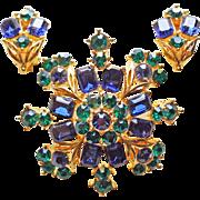 Fabulous LISNER Signed Vintage Brooch & Earrings Set - Midnight Blue & Emerald Green Rhinestones