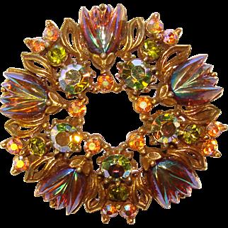 Fabulous FLORENZA Carnival Glass Rhinestone Signed Vintage Brooch