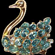 Gorgeous Vintage SWAN Aqua Rhinestone Vintage Brooch